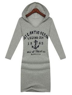 Hooded Collar Long Sleeve Letters Cotton Dress