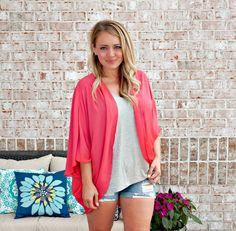 Always On Vacation Kimono: Coral