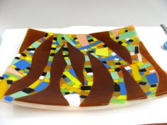 Fused glass plate  titled 'spear points'19 by oldbutlovely on Etsy, $46.00