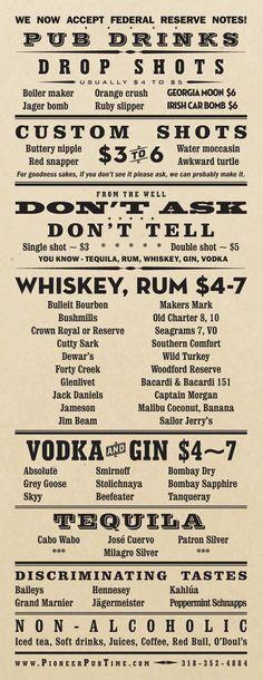 Art of the Menu: Pioneer Pub -- bar menu