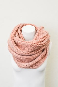 Chunky Cable Knit Infinity Scarf , Peach Oversized Knit Circle Loop Scarf, Women Fashion Accessories Scarves - Gift Ideas - Trending Items