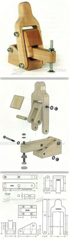 DIY Toggle Clamp - Clamp and Clamping Tips, Jigs and Fixtures | WoodArchivist.com Workbench Clamp, Woodworking Clamps, Woodworking Projects Diy, Woodworking Tools, Diy Projects, Wood Crafts, Wood Turning, Carpentry, Diy Shops