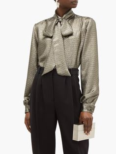Pussybow silk-blend lamé blouse | Saint Laurent | MATCHESFASHION UK Metallic Blouses, Tailored Trousers, Personal Style, Saints, Saint Laurent, Women Wear, Silk, Shopping, Collection
