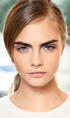deep side part + bold brows + natural makeup // #beauty #makeup #caradelevingne