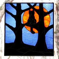 Stained Glass Black Cat Full Hunter's Moon by LivingGlassArt, $125.00