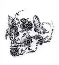 Illistration by Adam Isaac Jackson . - Illistration by Adam Isaac Jackson You a - Small Skull Tattoo, Skull Tattoo Flowers, Skull Rose Tattoos, Flower Tattoos, Body Art Tattoos, Tattoo Drawings, Crown Tattoos, Heart Tattoos, Dragonfly Tattoo