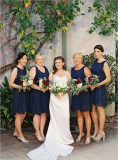 Stunning Midnight Blue Bridesmaid Dresses & Blue Color Wedding Ideas – Perfect For Fall And Winter Romantic Bridesmaid Dresses, Navy Blue Bridesmaid Dresses, Red Bridesmaids, Wedding Dresses, Bridesmaid Bouquets, Bridesmaid Ideas, Bride Dresses, Red Wedding, Wedding Colors