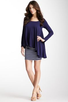 <3 this stripes skirt and navy assymetrical top ....Bandage Mini Skirt by Rachel Pally on @HauteLook