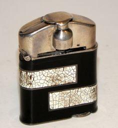superb 1927 art deco modernistic hermes sterling silver lacquer eggshell lighter