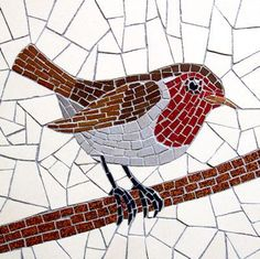 Robin by Robert Field Paper Mosaic, Mosaic Tile Art, Mosaic Artwork, Pebble Mosaic, Mosaic Diy, Mosaic Crafts, Mosaic Glass, Mosaic Mirrors, Fused Glass
