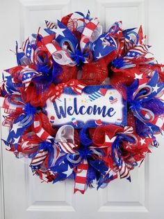 Patriotic Decor Front door decor Memorial day of July Front Door Decor, Wreaths For Front Door, Mesh Wreaths, Patriotic Wreath, 4th Of July Wreath, Memorial Day Wreaths, 4th Of July Decorations, Diy Wreath, Wreath Ideas