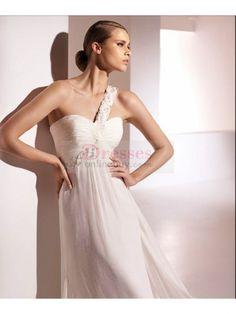 Brilliant Chiffon One Shoulder Sheath/Column Wedding Dresses