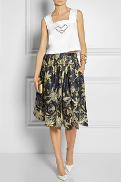 Suno | Embroidered printed silk skirt | NET-A-PORTER.COM