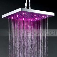12 Inch d Brass Square LED Rainfall Shower Head : Tidebuy.com