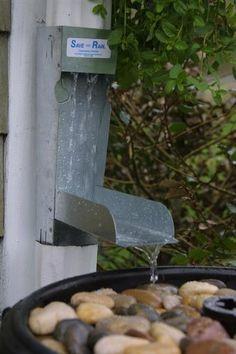 Rain Diverter by Great Amer. Rain Barrel. Flap down to fill barrel; flap up for water to go down spout. http://www.amazon.com/dp/B005V3QVRM/ref=cm_sw_r_pi_dp_vbDJrb1DZS5G9