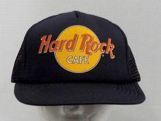 Vintage 1980's Hard Rock Cafe Truckers Baseball Hat Cap by LouisandRileys on Etsy