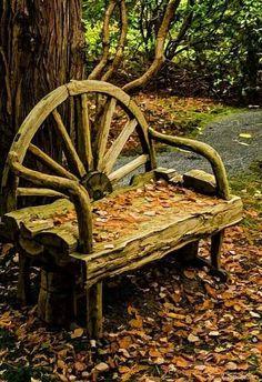 Changing Of The Seasons Photograph by Jordan Blackstone - Wagon Wheel bench Log Furniture, Garden Furniture, Outdoor Projects, Garden Projects, Jardin Decor, Old Wagons, Rustic Gardens, Outdoor Living, Outdoor Decor