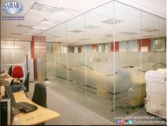 The sandblasted glass doors and partitions is one among many other glass solutions for your office. We can provide you with variety of standard and decorative glass solutions that suits your different needs!