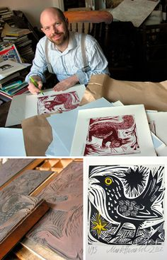 As part of our forthcoming St Jude's at Tinsmiths exhibition in Ledbury, Mark Hearld has collaborated with Tilley's Letterpress to produce editions of four linocut prints - Squirrel, Blackbird, Little Owl and Flowers. Linocut Prints, Art Prints, Block Prints, Stamp Carving, Collagraph, Tampons, Woodblock Print, Teaching Art, Artist At Work