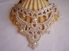 Statement bib Necklace Silver Wedding Pearl by DIDIcrochet on Etsy