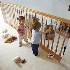 Clear Banister Guard Kit for Kids Safety and 15 Ft. Roll Kit: Designed by One Step Ahead!  Can your child slip a curious hand, arm, or leg in the spaces between your banister railings? Prevent falls, entrapment, and plummeting toys with our tougher-than-ever bannister shield!...