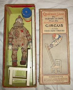 """Schoenhut Humpty Dumpty Circus ""Set:15 -1, with it's original box. The .Cracker Jack Clown""-Plus 3-Accessories."