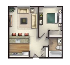 One Bedroom Apartment Layout Small Apartment Bedrooms, Apartment Bedroom Decor, Apartment Design, Small Apartments, Apartment Ideas, Diy Bedroom, Apartment Living, Garage Apartments, Studio Apartments