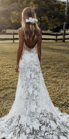 60 Trendy Wedding Dresses For 2020 ❤ trendy wedding dresses a line with spaghetti straps backless boho grace loves lace ❤ Wedding Dress Tight, Best Wedding Dresses, Designer Wedding Dresses, Bridal Dresses, Trendy Wedding, Baby Girl Dresses, Wedding Ideas, Wedding Decorations, Boho Lace Wedding Dress