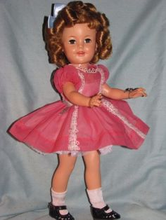 SHIRLEY-TEMPLE-17-IN-ORIGINAL-1950-039-039-s-VINYL-DOLL-ROSE-DRESS-TAGGED-FLIRTY-EYE