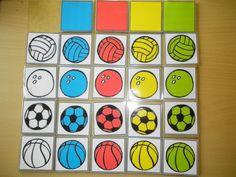 Matrix: verschillende soorten ballen en kleur *liestr* Busy Boxes, Montessori Materials, Esports, Diy Toys, Teaching Math, Preschool Activities, Diy For Kids, Interactive Books, School Ideas