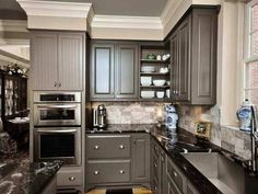 Grey Kitchen Cabinets With Black Countertops