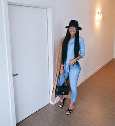 "Teaira Walker : ""Still going bad on em' anyways 🥰"" Black Girl Fashion, Denim Fashion, Look Fashion, Autumn Fashion, Cheap Fashion, Dope Outfits, Stylish Outfits, Fashion Outfits, Womens Fashion"
