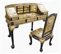 Golden Lacquered Oriental Dresser / Desk With Chair Set Decor, Furniture Direct, Home, Oriental Furniture, Desk, Furniture, Chair Set, Desk Furniture, Chinese Furniture
