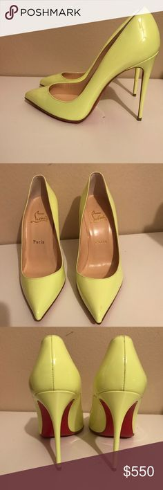 Christian louboutin pigalle follie Authentic Christian louboutin pigalle follie 100mm in neon yellow. New without box. Vibrant have been added to protect sole and add grip. No box, dustbag only. There are a few tin color transfer stains, all are pictured. Christian Louboutin Shoes Heels