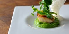 Luxurious scallop starter recipes from Great British Chefs includes scallops wrapped in Prosciutto ham and scallops with pea purée Fish Recipes, Seafood Recipes, Cooking Recipes, Tapas, Great British Chefs, Scallop Recipes, Think Food, Molecular Gastronomy, Gastronomia