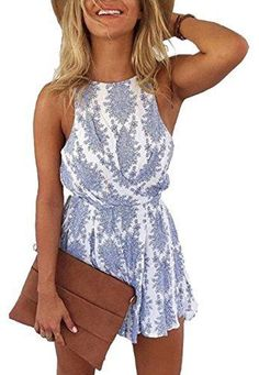 2017 Fashion trends! Spring & Summer on trend looks. Sexy shorts romper / jumpsuit. blue and white. Open back / black less with simple bow. (affiliate)