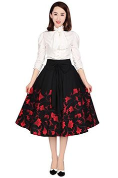 Fashion Bug Plus Size Vintage 60's Falling Flower with Big Bow Black Flare Circle Statement Skirt www.fashionbug.us #plussize #fashionbug 16W 18W 20W 22W 24W 26W