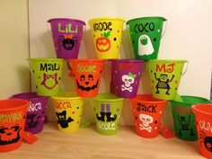 Halloween bucket Personalized Halloween sand pail by DeLaDesign, $10.00