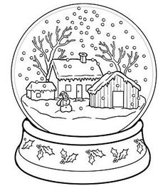 Printble Christmas Snow Globe Coloring Pages For Kidschristmas Fargelegge Tegninger Activities Worksheets Clipart Kids