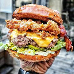 Burger Fried Chicken Bacon . Fries Beer = Man Heaven!