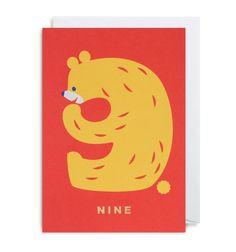 Number Nine Bear Greeting Card