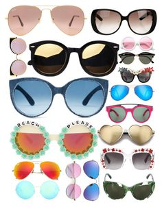 """""""SUNGLASSES"""" by pinkstars6 ❤ liked on Polyvore featuring Ray-Ban, Fendi, Gucci, ZeroUV, Anna-Karin Karlsson, Givenchy, Rad+Refined, Wildfox, Dolce&Gabbana and Victoria Beckham"""