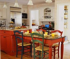 Decoration Kitchen - New Home Interior Design: Kitchen Island Design Ideas Kitchen Island With Table Attached, Red Kitchen Island, Red Kitchen Cabinets, Kitchen Cabinet Colors, Kitchen Redo, Kitchen Colors, New Kitchen, Kitchen Dining, Kitchen Remodel