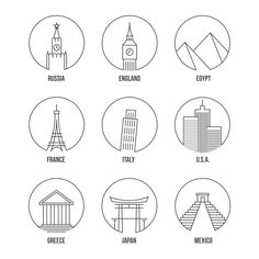 World landmark line art icons set by Microvector on can find icon set and more on our website.World landmark line art icons set by Microvect. Doodle Icon, Doodle Art, City Icon, Modern Tattoos, Travel Icon, Bullet Journal Ideas Pages, Instagram Highlight Icons, Easy Drawings, Icon Set