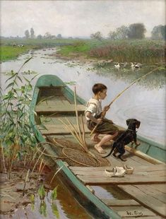 In the boat – Adolf Lins German Painter. … – Art Drawing Tips Drawing Sketches, Art Drawings, Dog Breed Names, Dog Breeds, Vintage Illustration, Mary Cassatt, Painting People, Great Paintings, Gone Fishing