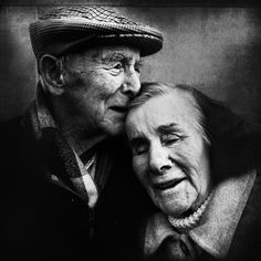 Portrait Photography of a Romantic Old Couple in Black and White