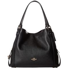 COACH Pebbled Leather Edie 31 Shoulder Bag (LI/Black) Handbags ($350) ❤ liked on Polyvore featuring bags, handbags, shoulder bags, slouchy shoulder bag, man shoulder bag, handbags shoulder bags, man bag and shoulder bag purse