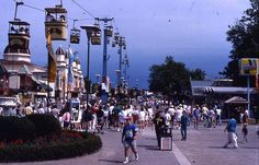 """Vintage Cedar Point-I can remember saying random things to the other """"cars"""" that passed us by, like """"may your cows always have green pastures. Vacation Memories, Vacation Spots, Cedar Point Ohio, Marblehead Ohio, Olympia Stadium, Great Places, Beautiful Places, Sky Ride, Best Amusement Parks"""