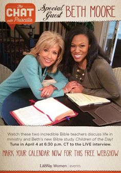 Priscilla Shirer interviews Beth Moore Friday on her new Bible Study, Children of the Day! The show starts at 6:30 p.m. CST and you can watch it here   http://thechatwithpriscilla.com/thechat/  #ChildrenoftheDay
