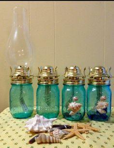 Blue Mason Jars, Mason Jar Diy, Mason Jar Crafts, Antique Oil Lamps, Vintage Lamps, Jar Lanterns, Hurricane Lanterns, Burlap Roses, Diy Crafts How To Make